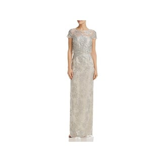 Adrianna Papell Womens Evening Dress Lace Popover