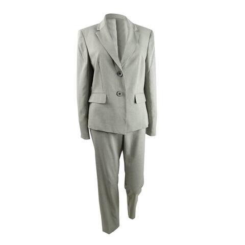 Le Suit Women's Striped Two-Button Pantsuit (8, Loden Multi)