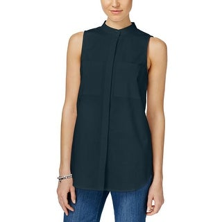 MICHAEL Michael Kors Womens Button-Down Top Poplin Sleeveless