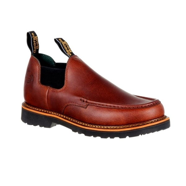 Georgia Boot Work Shoes Mens Giant Moc Toe Slip On Brown