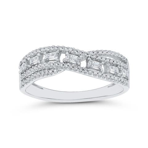 14K White Gold 1/4ct TDW Baguette and Round Diamond Ribbon Ring (I-J, I1)