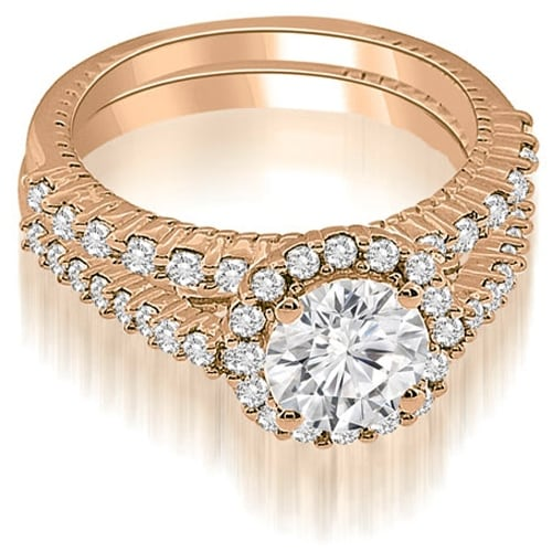 1.47 cttw. 14K Rose Gold Antique Halo Round Cut Diamond Bridal Set
