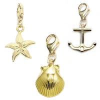 Julieta Jewelry Seashell, Starfish, Anchor 14k Gold Over Sterling Silver Clip-On Charm Set