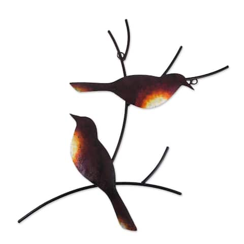 Handmade Pair Of Sparrows Steel Wall Art (Mexico)