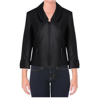 Calvin Klein Womens Basic Jacket Metallic Cuffed SLeeve