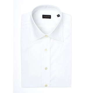 Valentino Men's Spread Collar Stretch Cotton Dress Shirt White