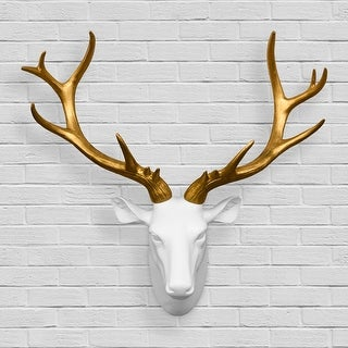 Walplus Contemporary Taxidermy White Gold Deer Head Home Decor Art