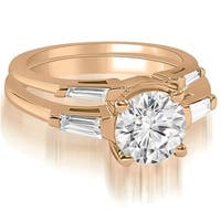 0.80 cttw. 14K Rose Gold Round Baguette Cut Three Stone Diamond Bridal Set