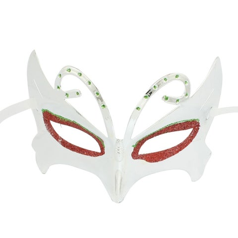 Unique Bargains Cosplay Party Red Green Powders Detail Silver Tone Plastic Eyes Masks