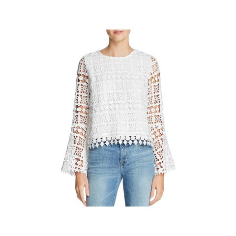 Lucy Paris Womens Bernice Blouse Lace Bell Sleeves