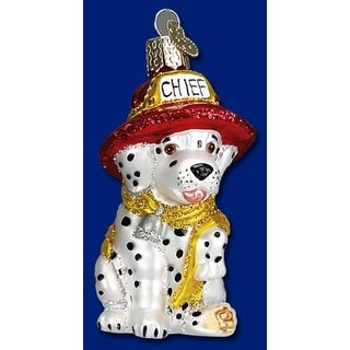 Old World Christmas Dalmation Puppy Dog Firefighter Glass Ornament #12208
