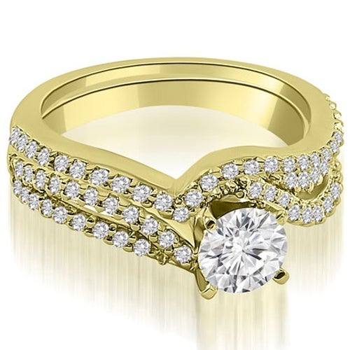1.03 cttw. 14K Yellow Gold Twisted Split Shank Round Cut Diamond Bridal Set