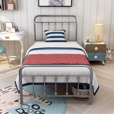 Antique Industrial Bed Frame Chrome Iron Bed Charcoal Gray