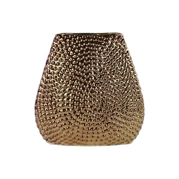 Urban Trends Collection 24462 Sto are Elliptical Bellied Vase Beaded Chrome - Bronze