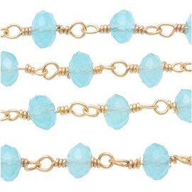 Aqua Blue Chalcedony Gem Gold Vermeil Wire Wrapped Chain 3.5mm Rondelles - By Inch