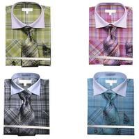 Men's Multi Color Check French Cuff Shirt Tie Hanky & Cufflinks