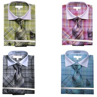 Men's Multi Color Check French Cuff Shirt Tie Hanky & Cufflinks