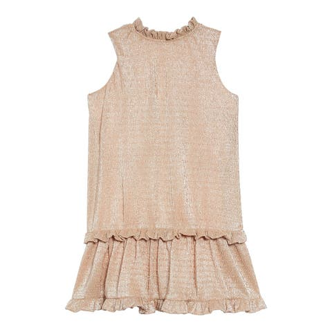 kate spade york Girl's Gold Size 3 Metallic Ruffle-Trim Dress