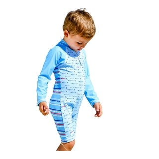 Sun Emporium Baby Boys Aqua Gone Fishing Print Long Sleeve Short Leg Suit