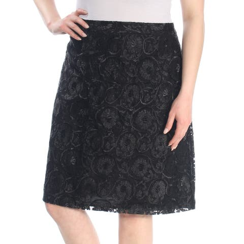 CALVIN KLEIN Womens Black Lace Knee Length Pencil Wear To Work Skirt Plus Size: 18W
