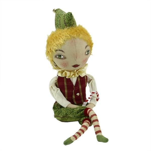 "16.5"" Gathered Traditions ""Eddie"" Elf Boy Decorative Christmas Figure with Dangling Legs"