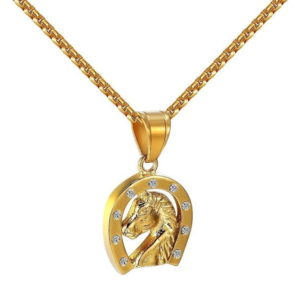 Horseshoe Pendant Horse Charm Simulated Diamonds Stainless Steel Gold Tone Chain