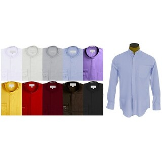 Men's Collarless Banded Collar Dress Shirt (More options available)