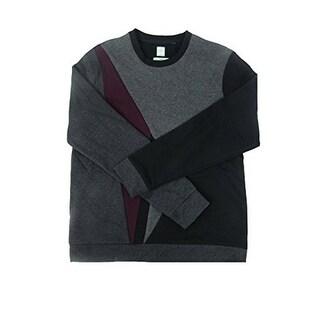 Calvin Klein Men's Color blocked Fleece Sweatshirt, Black, X-Large