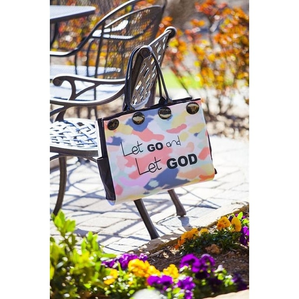 "22"" Navy Blue and Pink ""Let Go and Let God"" Tote Hand Bag with Buttons - N/A"