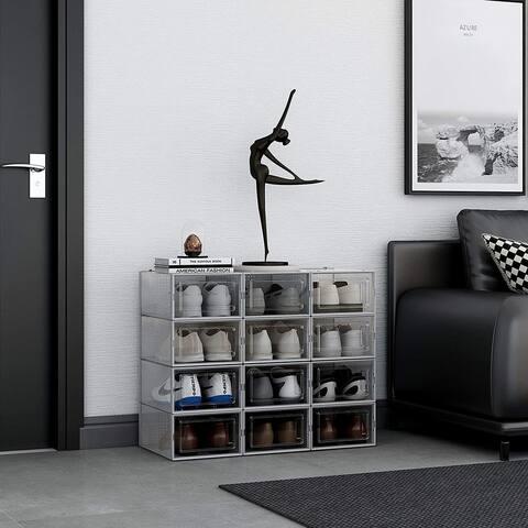 Grey Foldable Shoe Box, Stackable Storage Bins