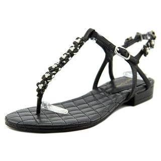 Marc Fisher Phantasia Women Open Toe Leather Black Thong Sandal
