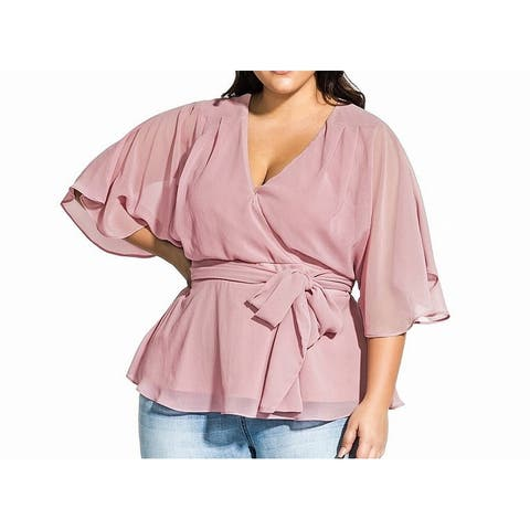 City Chic Women's Blouse Sheer Illusion Surplice Belted