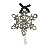 "7"" Silver Glitter Drenched Snowflake with Diamond Shaped Tips Christmas Pendant Ornament"