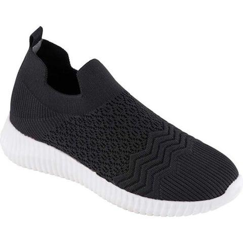 David Tate Women's Tiptop Slip On Sneaker Black Stretch Fabric