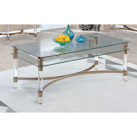 Furniture of America Gras Contemporary Gold Metal Coffee Table