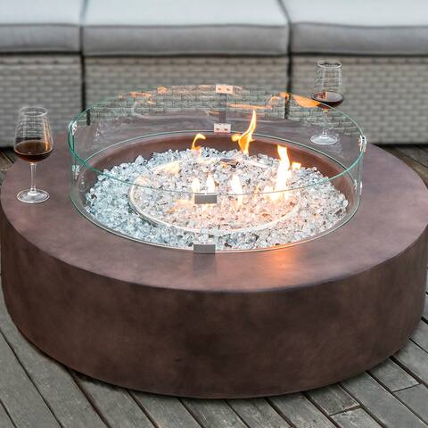 COSIEST Rectangle Dark Brown Patio Fire Table