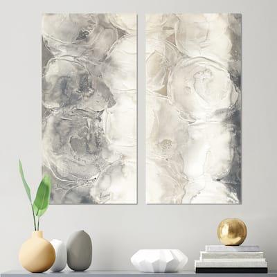 Designart 'Gray Circles I' Modern & Contemporary Canvas Wall Art Print 2 Piece Set
