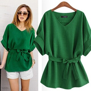 Chic Loose Cut Linen Casual Short Sleeve Top Shirts Blouse with Belt