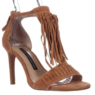 French Connection Lilyana Fringe Ankle Strap Sandals, Safari Sands
