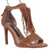 French Connection Lilyana Fringe Ankle Strap Sandals, Safari Sands - 5.5 us / 35.5 eu