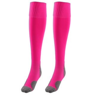 Unisex Nylon Anti Slip Elastic Rugby Football Soccer Long Socks Rose Red Pair