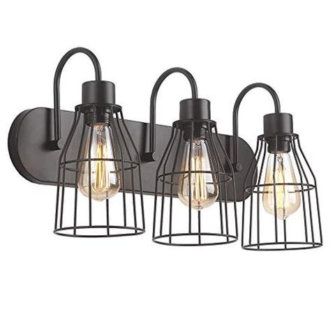 3 light industrial cage wall light fixture