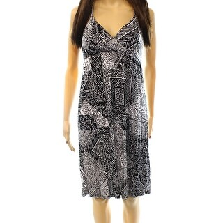 INC NEW Black White Women's Size XL Printed V-Neck Empire Waist Dress