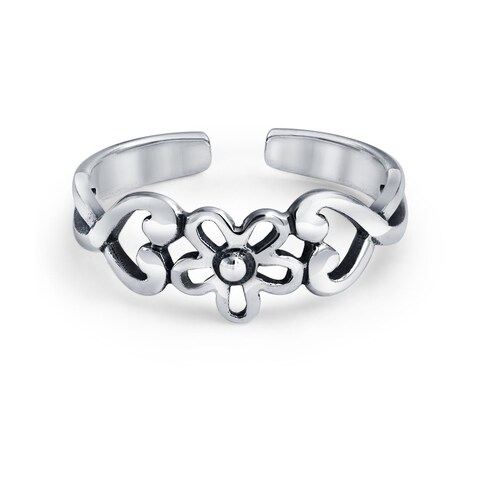 Bling Jewelry Flower Midi Ring Heart Toe Rings 925 Silver Adjustable
