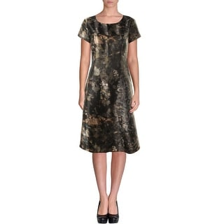 Lafayette 148 Womens Printed Cap Sleeves Cocktail Dress