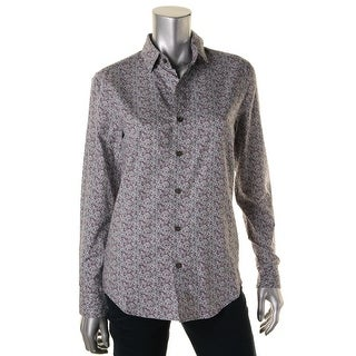 Parke & Ronen Mens Printed Long Sleeves Button-Down Shirt - XS