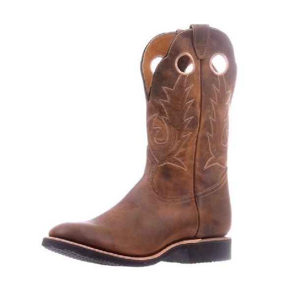 Boulet Western Boots Mens Round Toe Roper Heel Hillbilly Golden