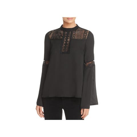 Band of Gypsies Womens Pullover Top Lace Bell Sleeves - M