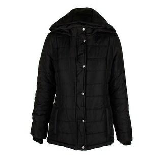 Rampage Juniors Classic Black Hooded Puffer Coat M