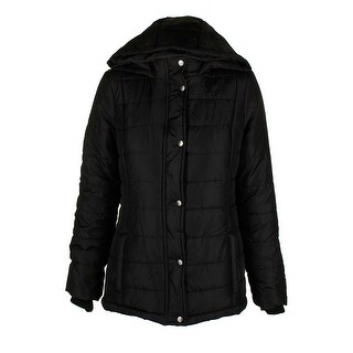 Rampage Juniors Classic Black Sliver Hooded Full Zip And Snap Puffer Coat M
